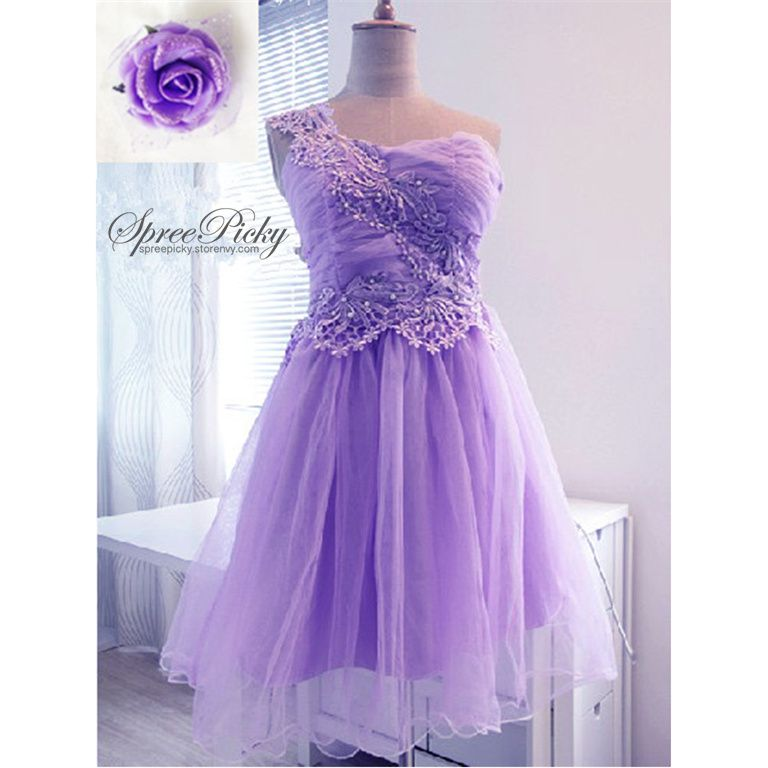 "#spreepicky #dress #tutudress #singleshoulder #freeship   made of lace, gauze and dacron  colors: purple / pink   one size:  length of 89cm/35.04"" ; bust of 68-94cm/26.77-37.01"" ; waist of 68-80cm/26.77-31.5""  strength on the back and side zipper on the waist, easy to fit ^^"