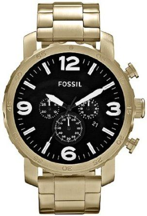 Fossil Nate Chronograph Stainless Steel Watch Gold-Tone: Watches: Amazon.com