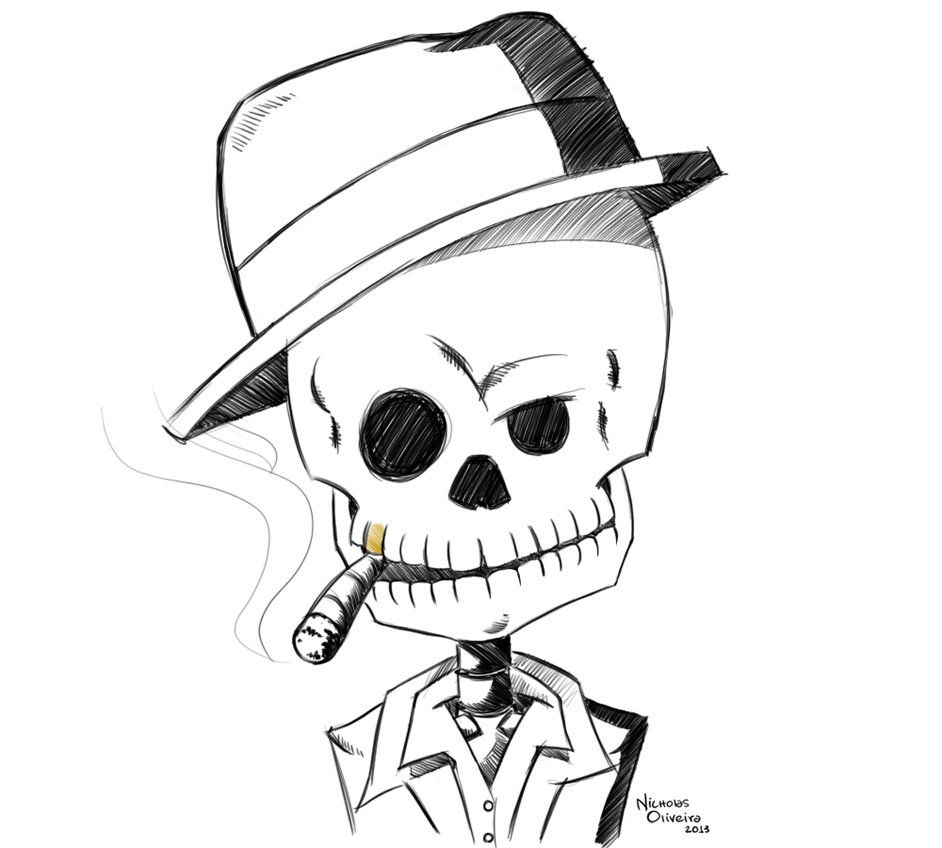 Skull Gangster Drawing Drawing Ideas In 2019 Gangster Drawings