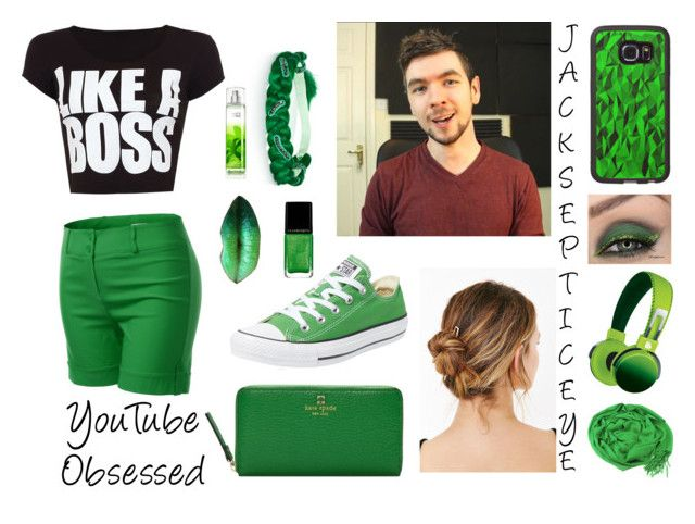 """YouTube Obsessed- Jacksepticeye"" by maddilovescows ❤ liked on Polyvore featuring Sveva, WearAll, J.TOMSON, Converse, Kate Spade, Illamasqua, CO and Jacksepticeye"