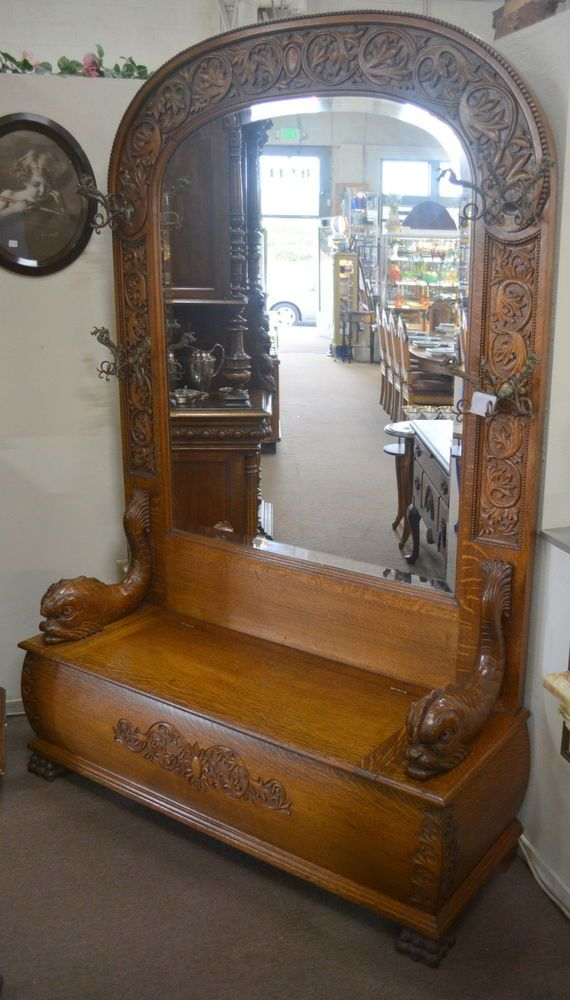 Monumental Antique Oak Hall Tree Bench w/ Carved Fish