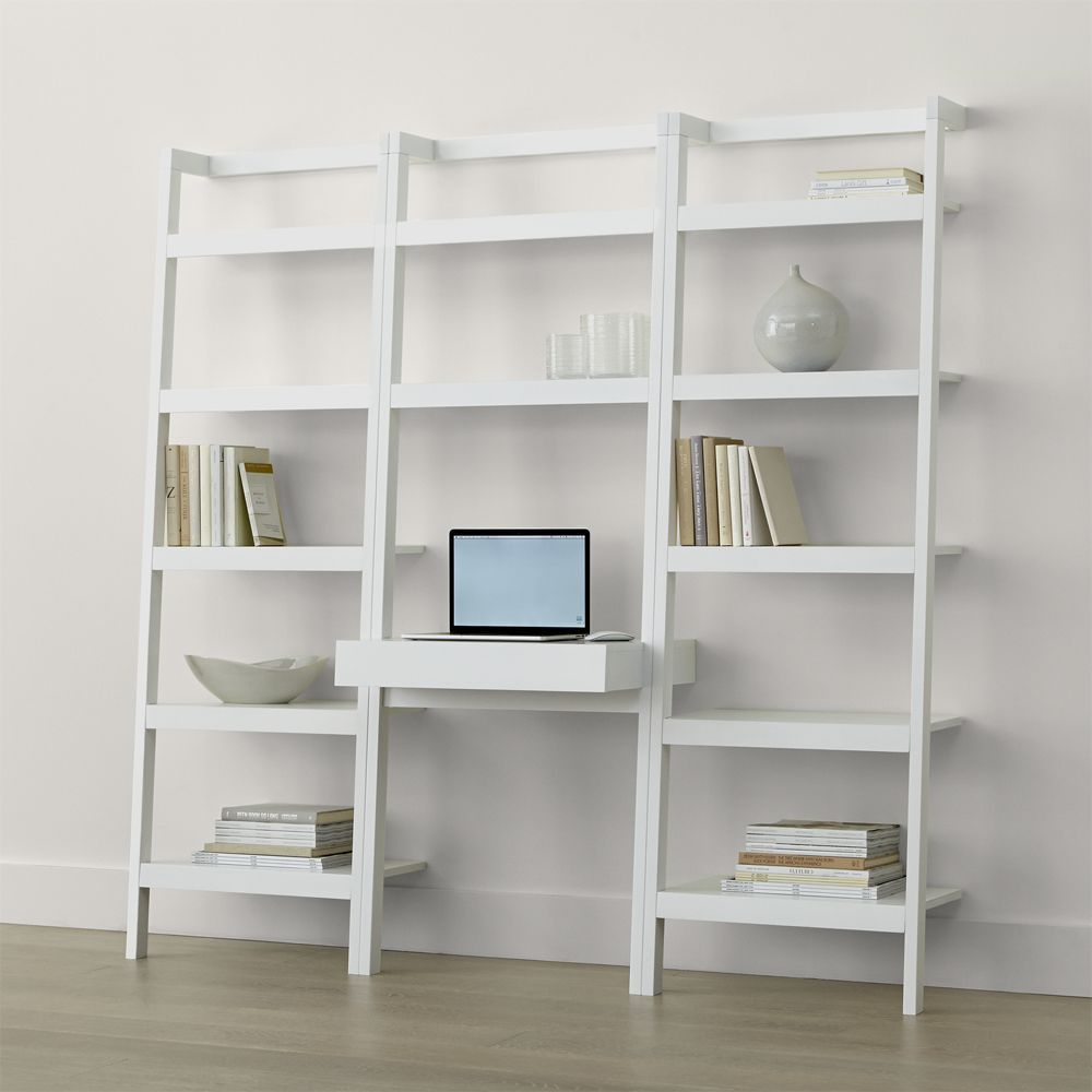 Sawyer white leaning desk with two 24 5 bookcases