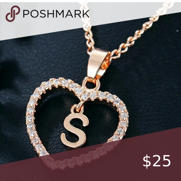 Crystal Gold Tone Letter S Love Heart Necklace Crystal Heart Necklace Letter Pendant Necklace Letter Necklace Rose Gold