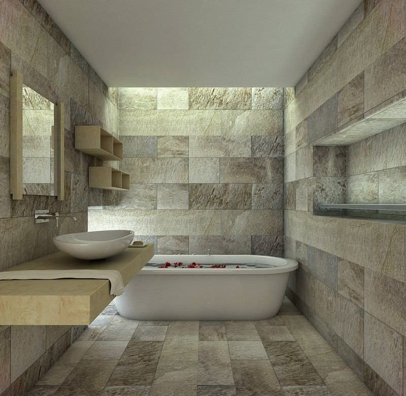 Image salle de bain -lu0027ambiance naturelle su0027invite dans la salle - meuble salle de bain pierre naturelle