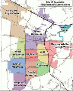 Map of the different neighborhoods in Beaverton Oregon Beaverton