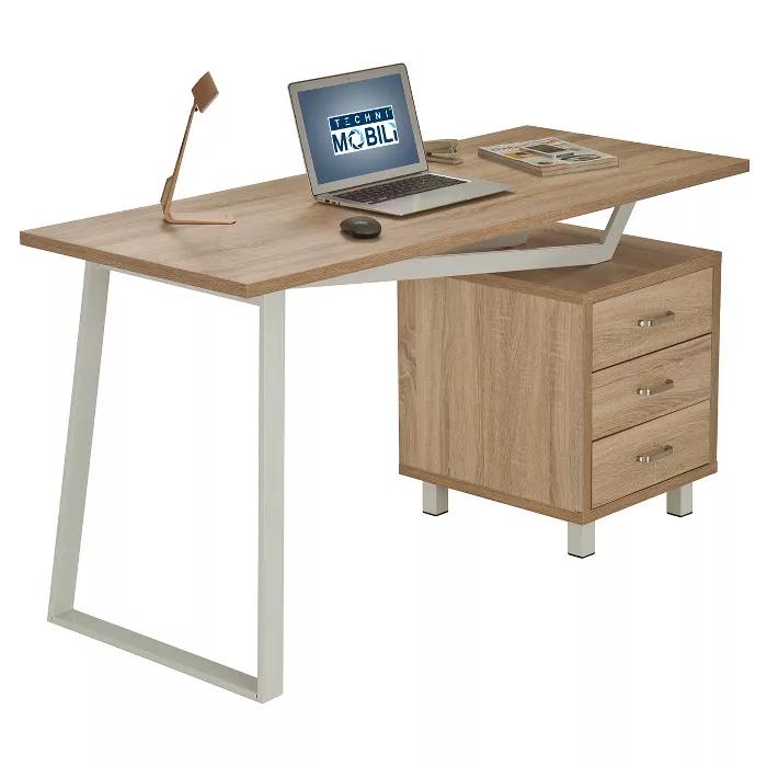 Modern Design Computer Desk With Storage Sand Stone Techni Mobili In 2020 Desk Storage Desk With Drawers Modern Computer Desk