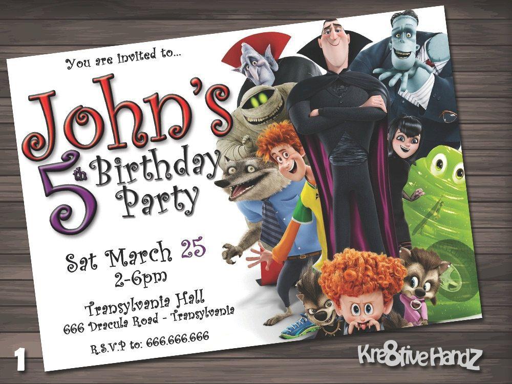 Hotel Transylvania Birthday Party Invitation Customized