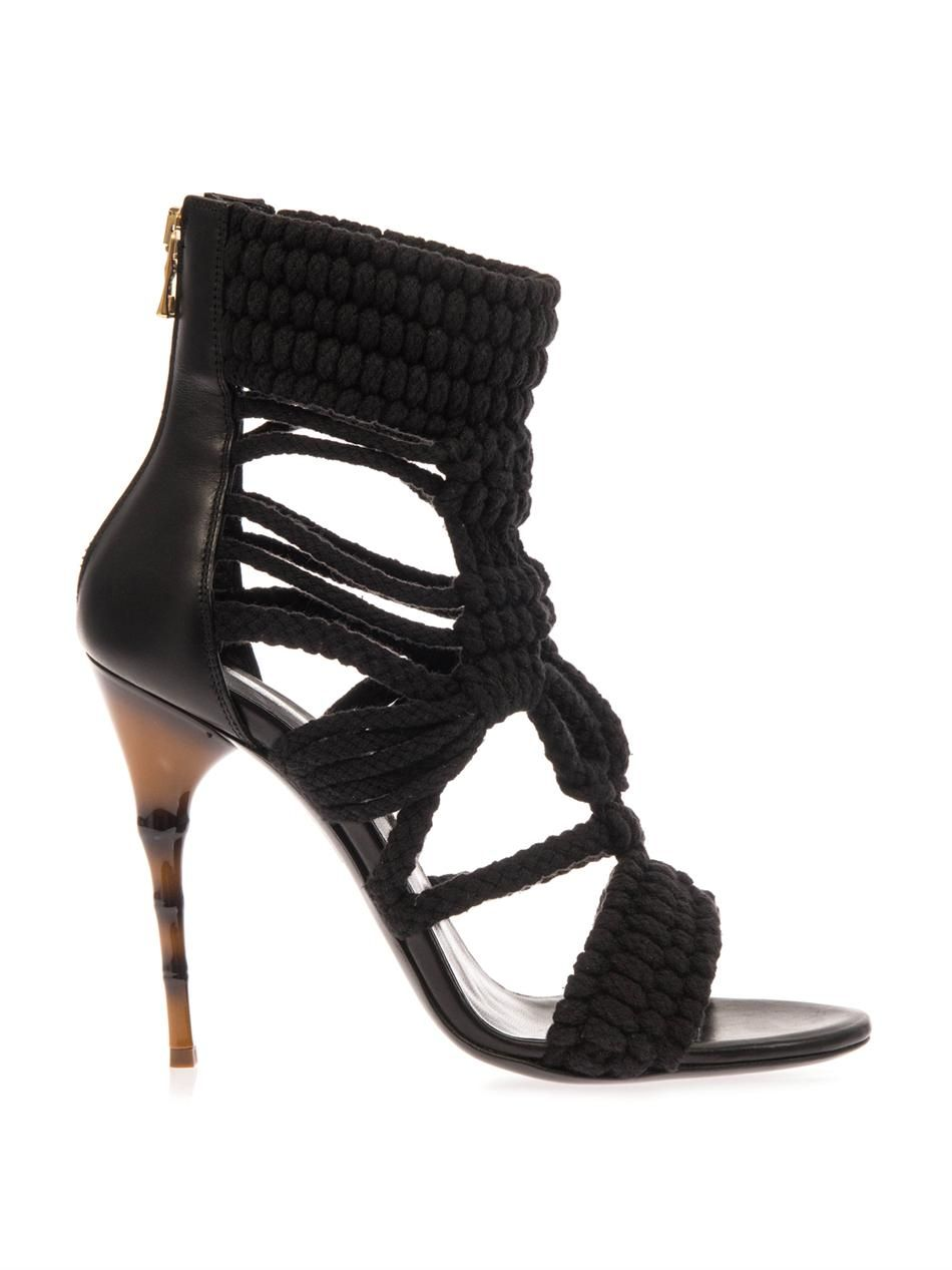 Balmain High Sandals In Leather