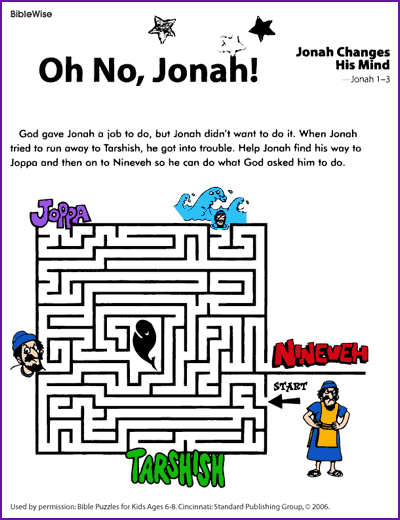Jonah maze worksheet (PDF) | Crafts ideas | Kids sunday school