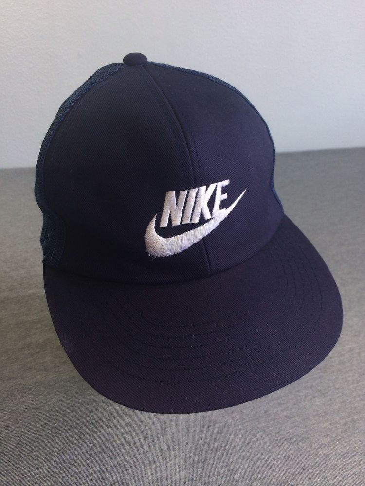 b5221198 80s NIKE Snapback Sewn SWOOSH Mesh Hat True Vintage Blue Trucker Basic RARE