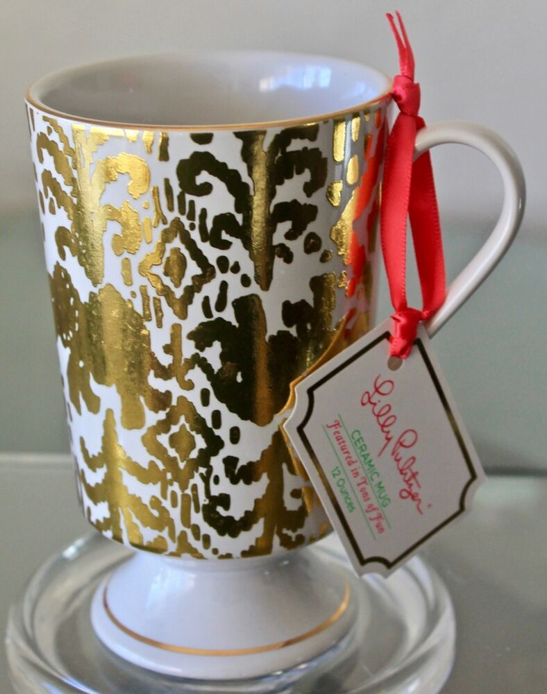 Details about lilly pulitzer mug gold featured in ton of