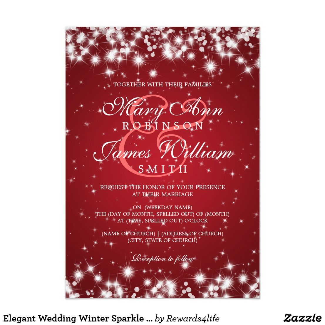 Elegant Wedding Winter Sparkle Red Card | Wedding Ideas | Pinterest ...