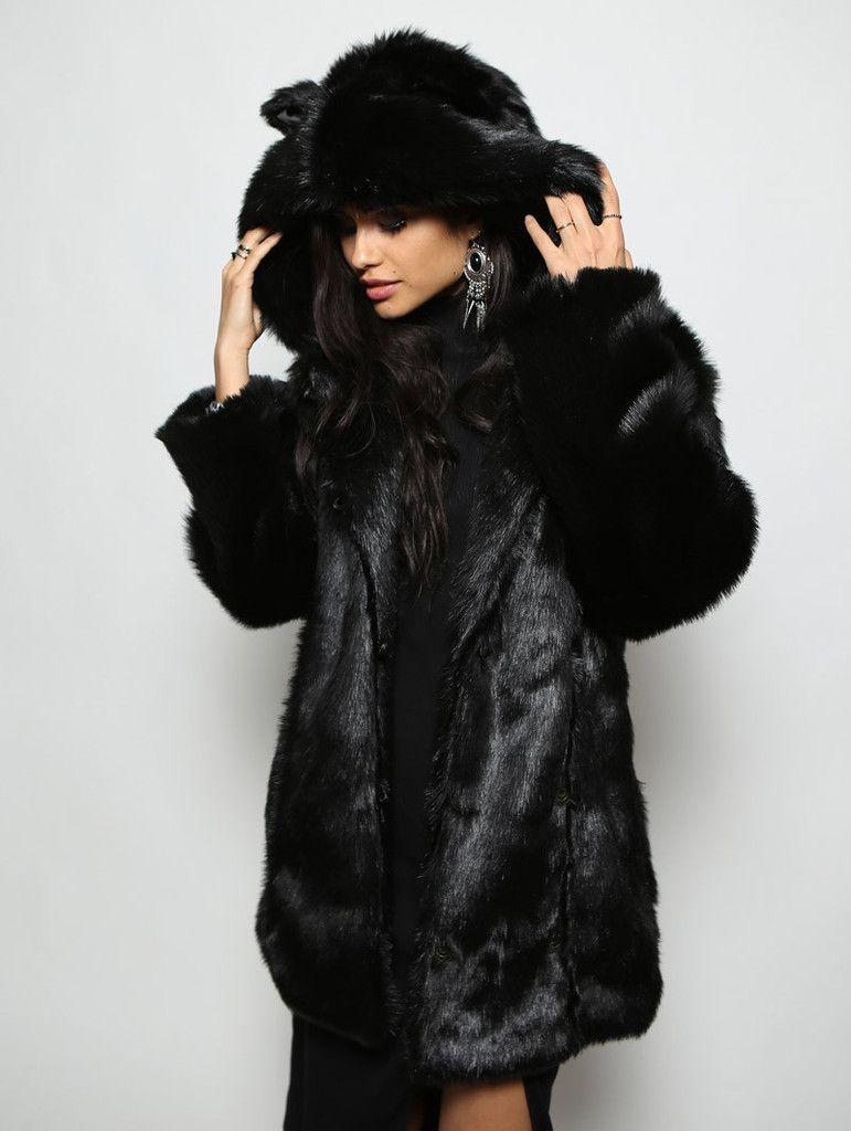 Black Panther Faux Fur Coat | Black