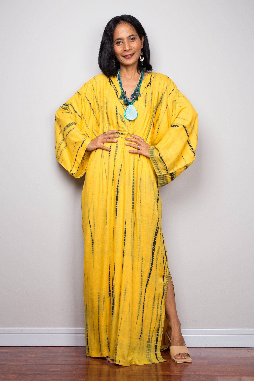 Tie Dye Kimono Kaftan Dress Beach Dress Yellow Maxi Dress Resort Kaftan Summer Kaftan Loose Fit Dress Yellow Maxi Dress Loose Fitting Dresses Kaftan Dress [ 3000 x 2000 Pixel ]
