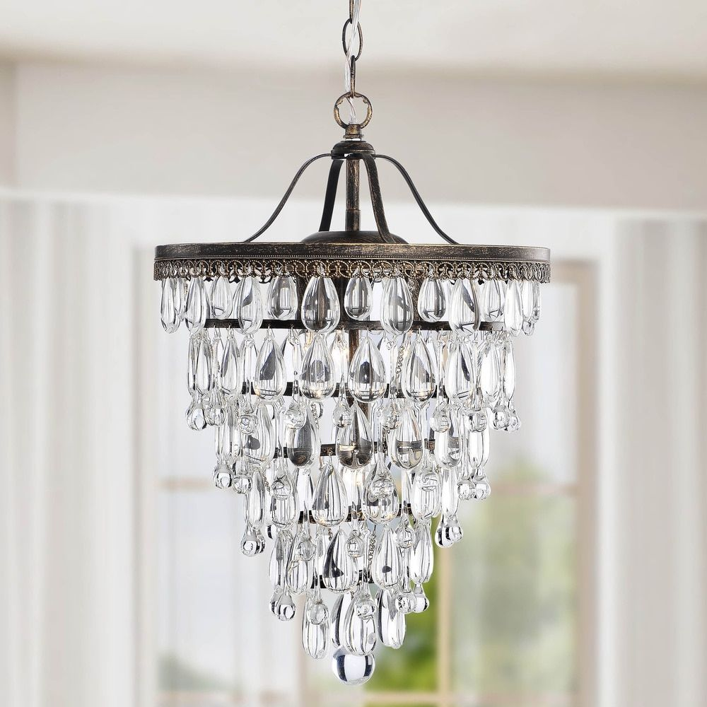 Conical 4-light Antique Brass Crystal Chandelier - 13687712 ...