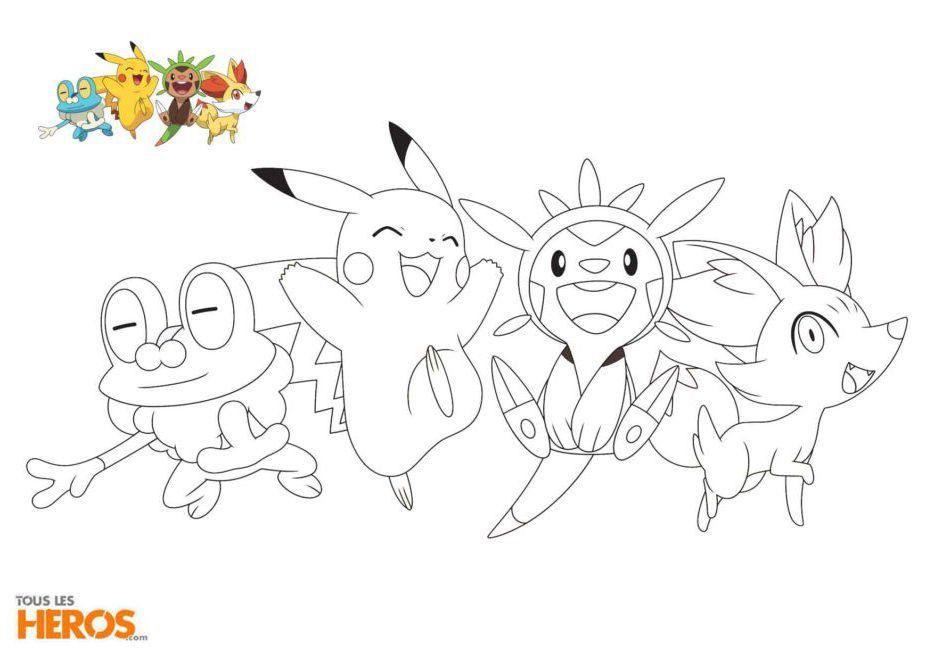 Coloriage Pokemon Grneousse Feunnec Marisson Et Pikachu Animes