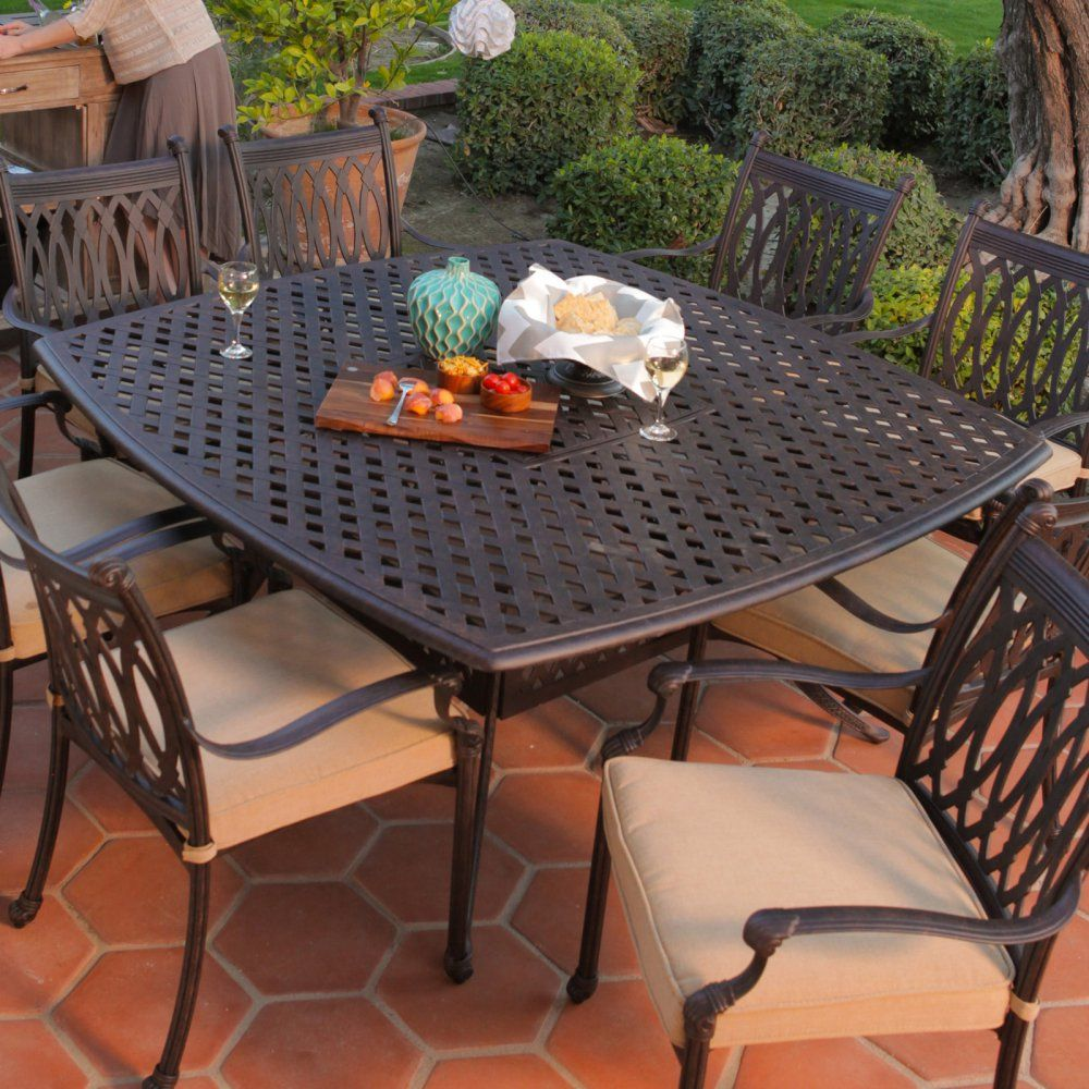 Belham Living Palazetto Cast Aluminum Dining Table   Patio Dining Tables At  Hayneedle