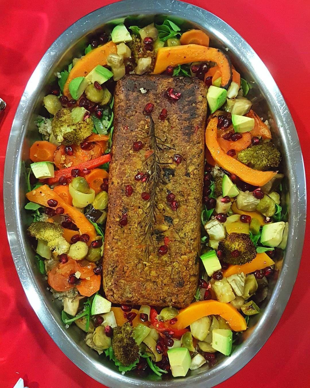 Cozinhados de natal - parte 3  rolo de lentilhas com salada de legumes assados