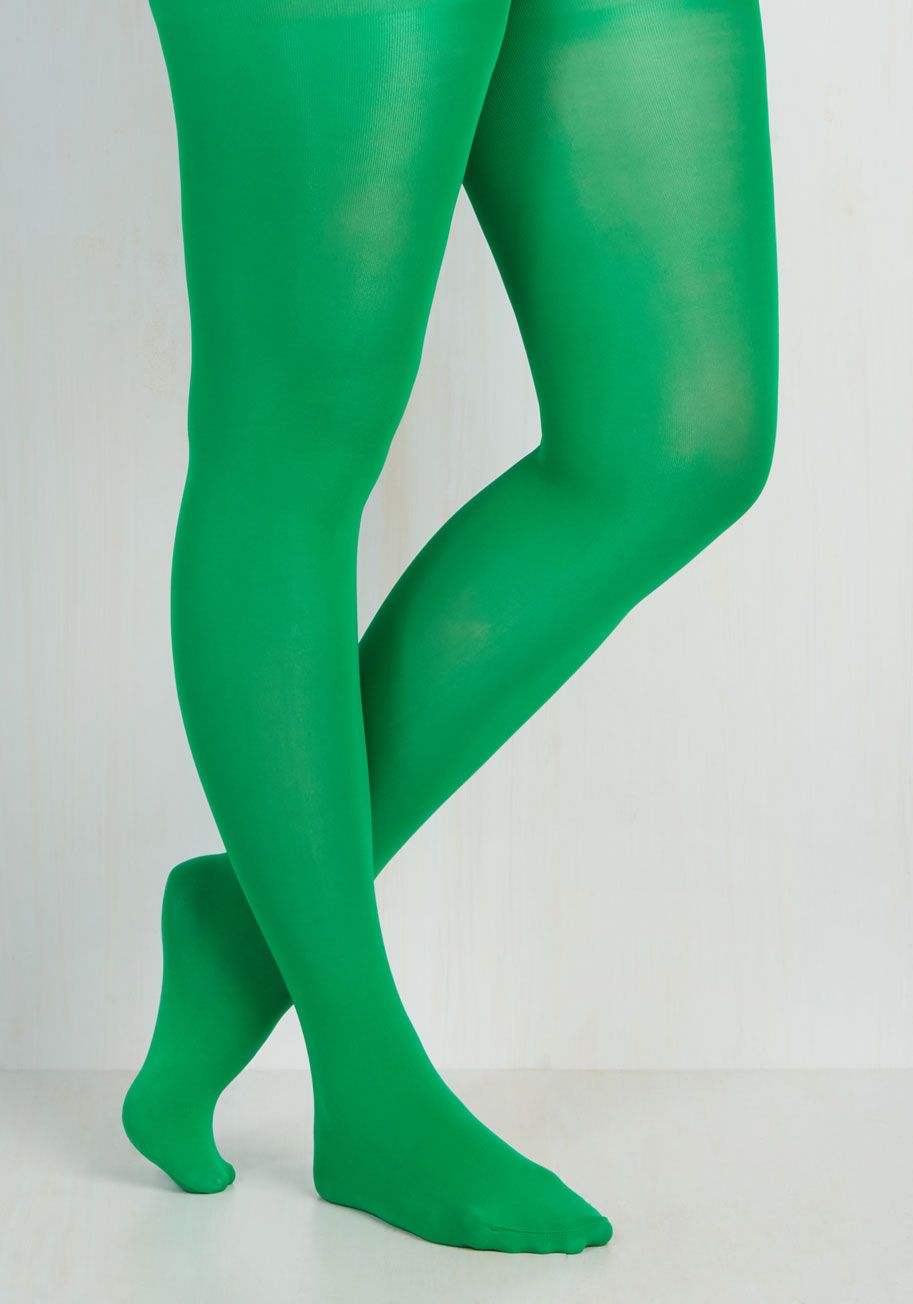 5f830379288a7 Rudimentary My Dear Tights in Green - Plus Size - Green, Solid, Variation,  Sheer, Knit, Green, Fall, Winter