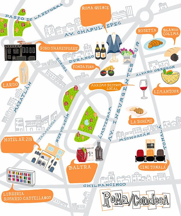Mexico City Maps Roma Condesa On Wacom Gallery Mexico City Map Mexico City City Maps
