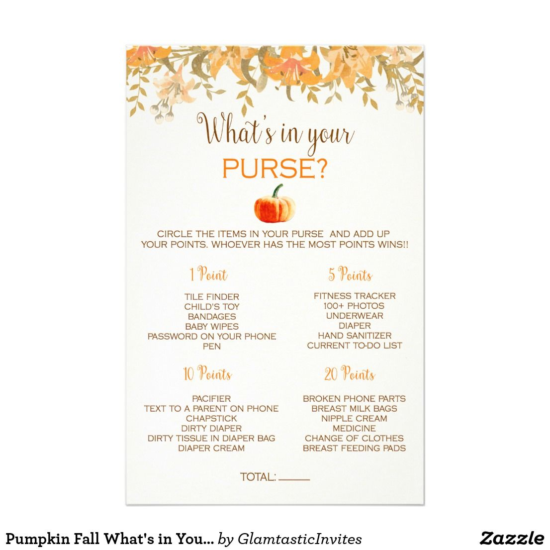 Pumpkin Fall What S In Your Purse Baby Shower Game Flyer Zazzle