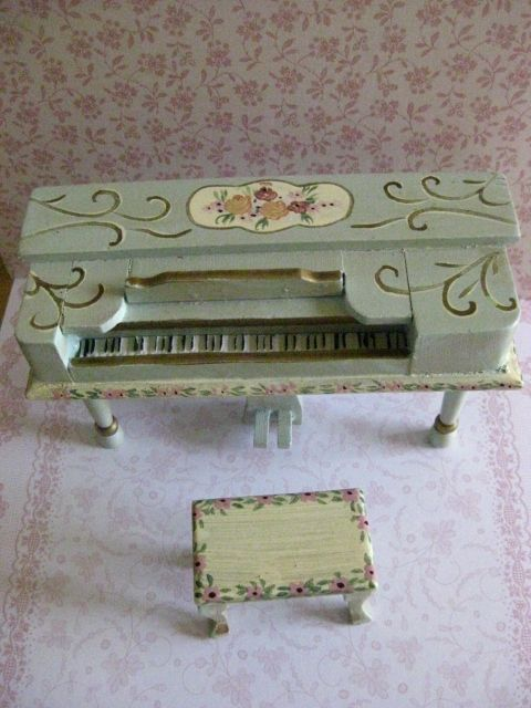 Dolls Miniature House Furniture Hand Decorated Piano