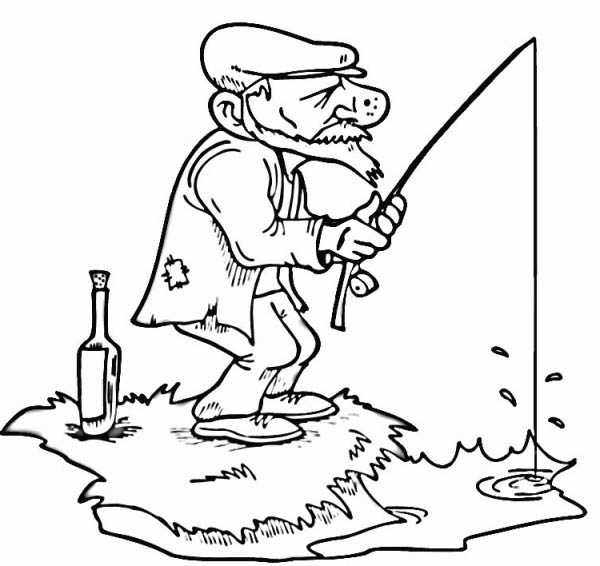 An Old Fisherman Fishing Coloring Page Coloring Sky Old Fisherman Coloring Pages Cool Drawings