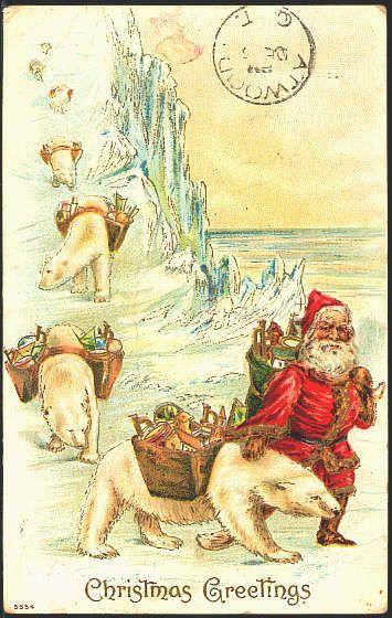 Old christmas greetings postcard with santa and pack polar bears old christmas greetings postcard with santa and pack polar bears m4hsunfo