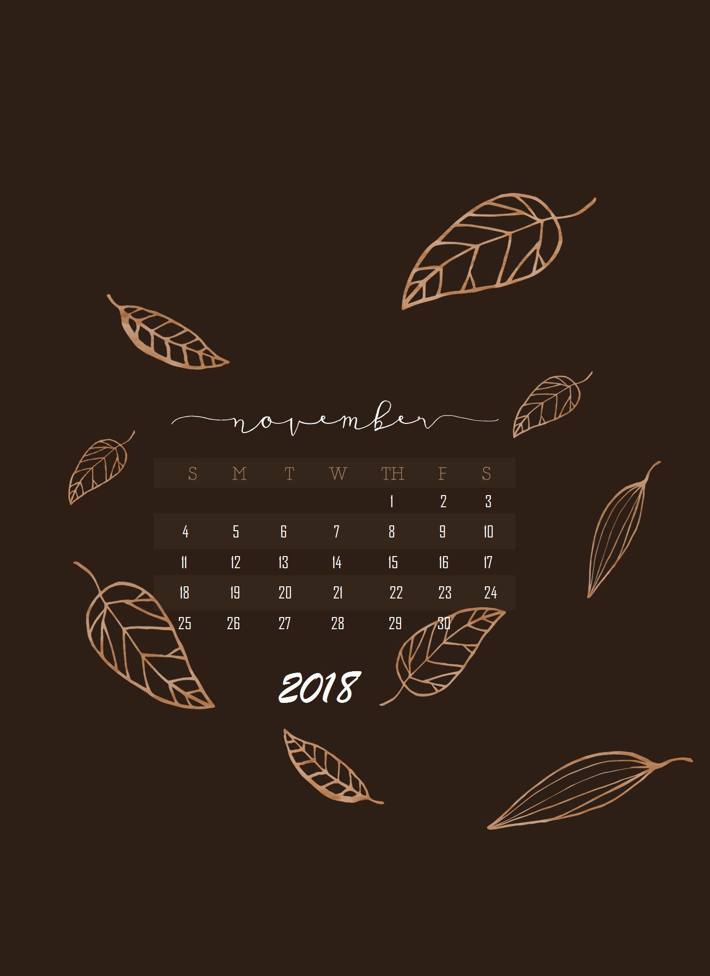 November 2018 iPhone Calendar Wallpaper