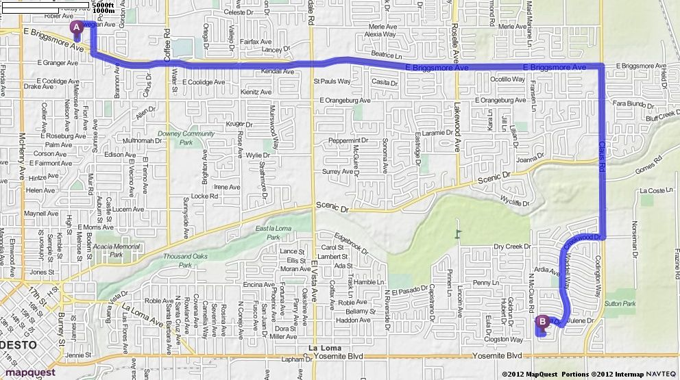 Driving Directions from 1745 Eldena Way Modesto California