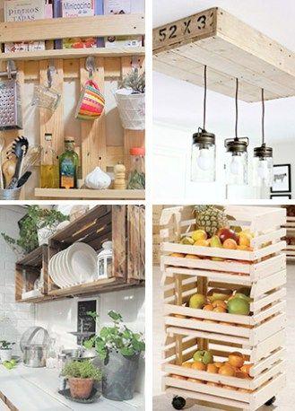 decora tu cocina con huacales y palets | deco palets | Pinterest ...