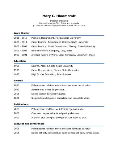 Simple Underline Resume Template | Resume Templates And Samples
