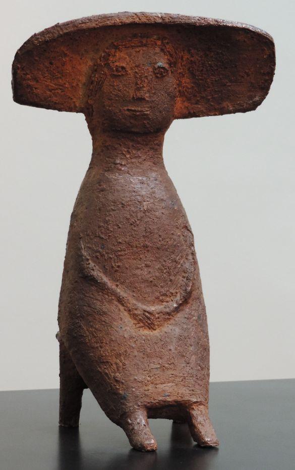 Jacqueline Lerat (French: 1920-2009) -   Femme assise au grand chapeau (1962)