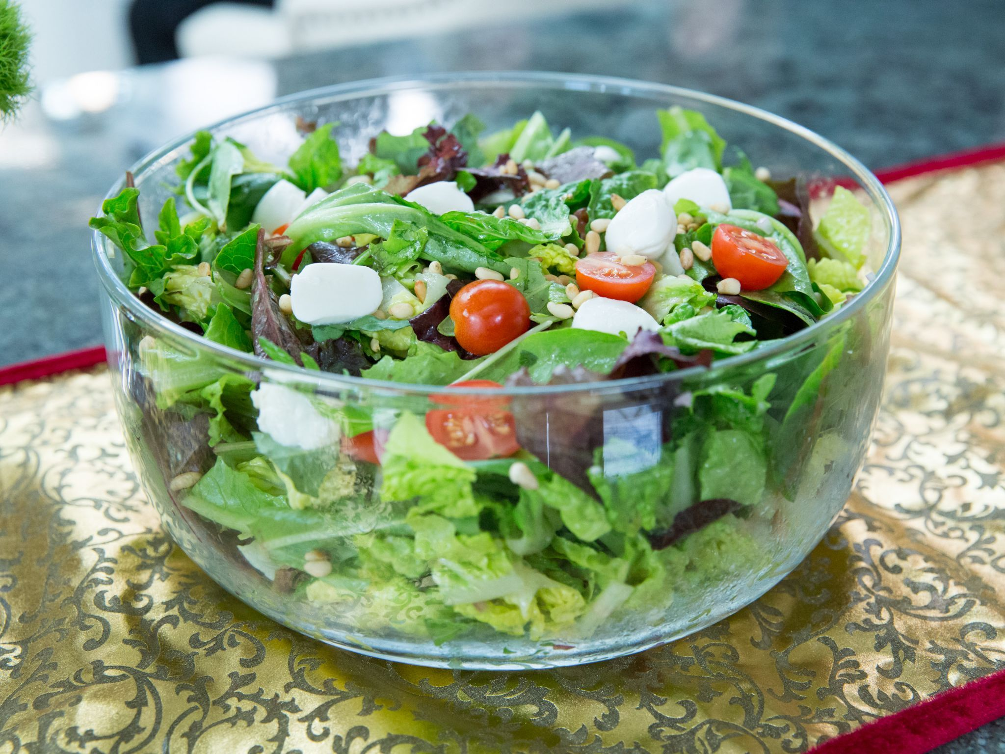Festive Salad With Tomatoes Basil And Mozzarella In A Creamy Vinaigrette Recipe Food Network Recipes Salad Valerie S Home Cooking Recipes