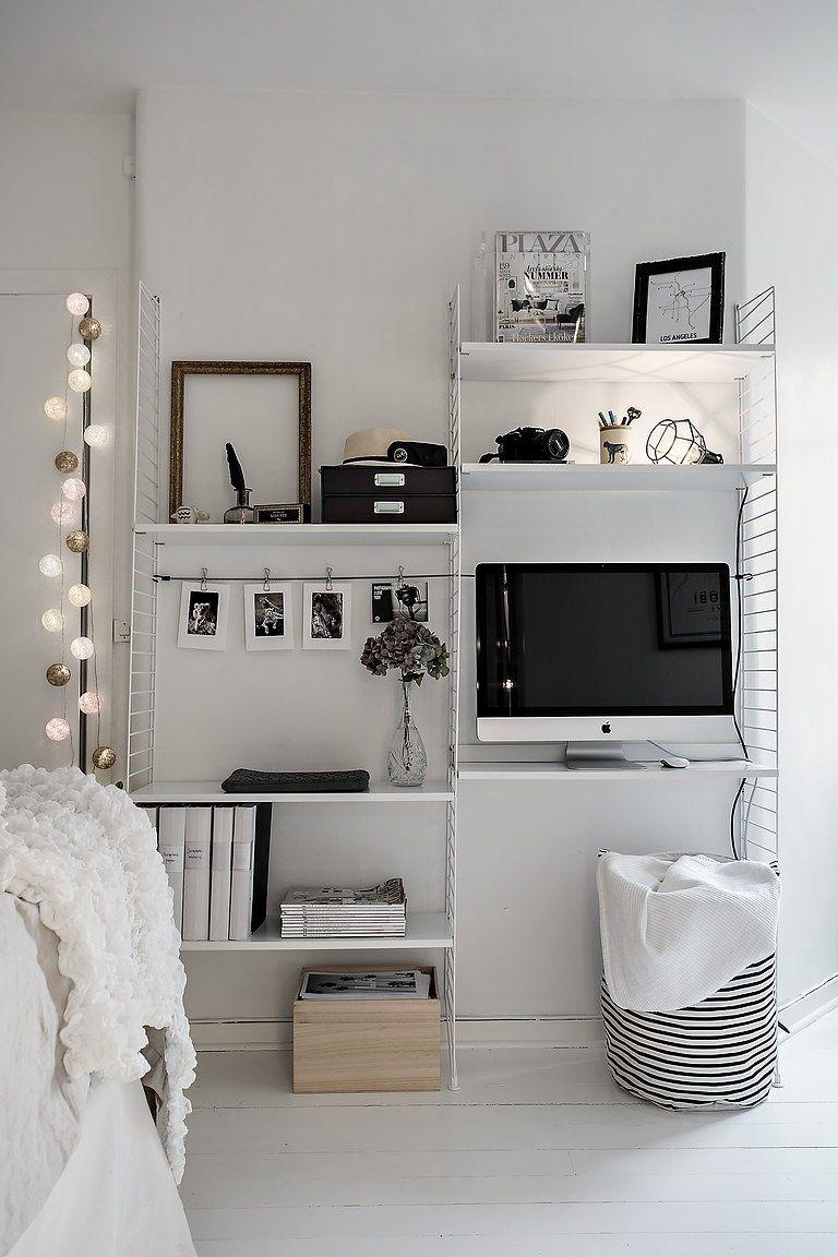 stringkast werkplek slaapkamer