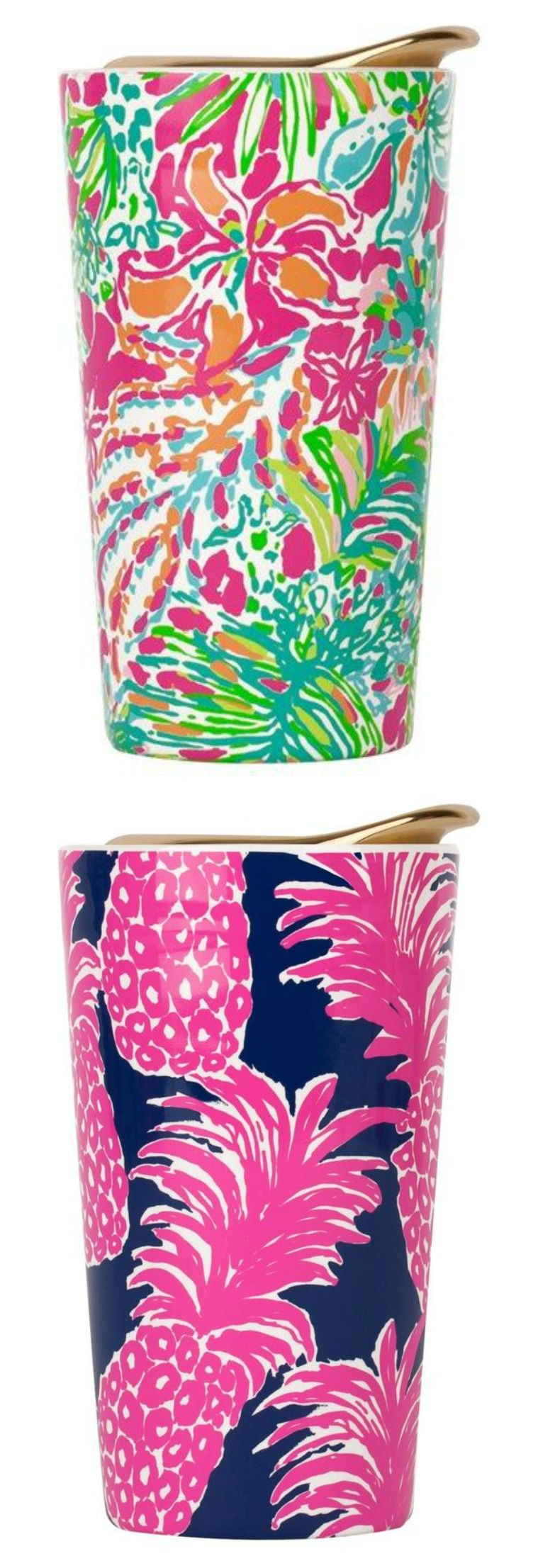 Fun and colorful Lilly Pulitzer travel mugs. Pretty and perfect for carrying your fave drink while on the go!