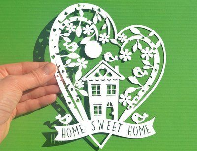 Home sweet home svg dxf cut files and pdf printable for hand cutting papiers d coup s - Dessin dxf gratuit ...