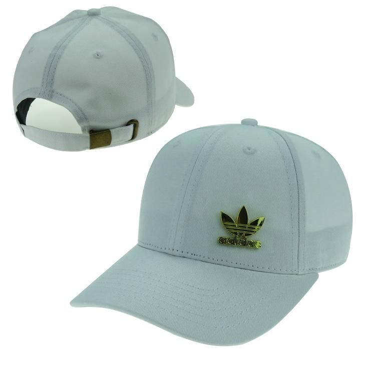 Men s   Women s Unisex Adidas Originals Gold Metal Iconic Logo Strap Back Baseball  Adjustable Hat - White 4b9b8c1b04ac