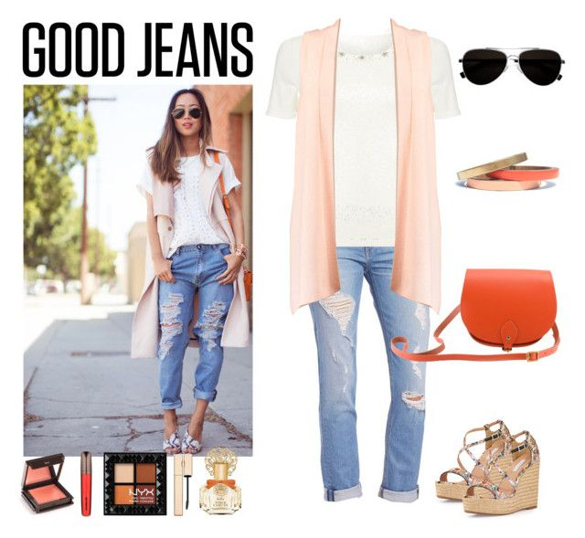 """""""Street Style: Distressed Denim"""" by saifai ❤ liked on Polyvore featuring Tabitha Simmons, rag & bone/JEAN, Precis Petite, N'Damus, Voz Collective, Calvin Klein, Jouer, Hourglass Cosmetics, Clarins and Vince Camuto"""