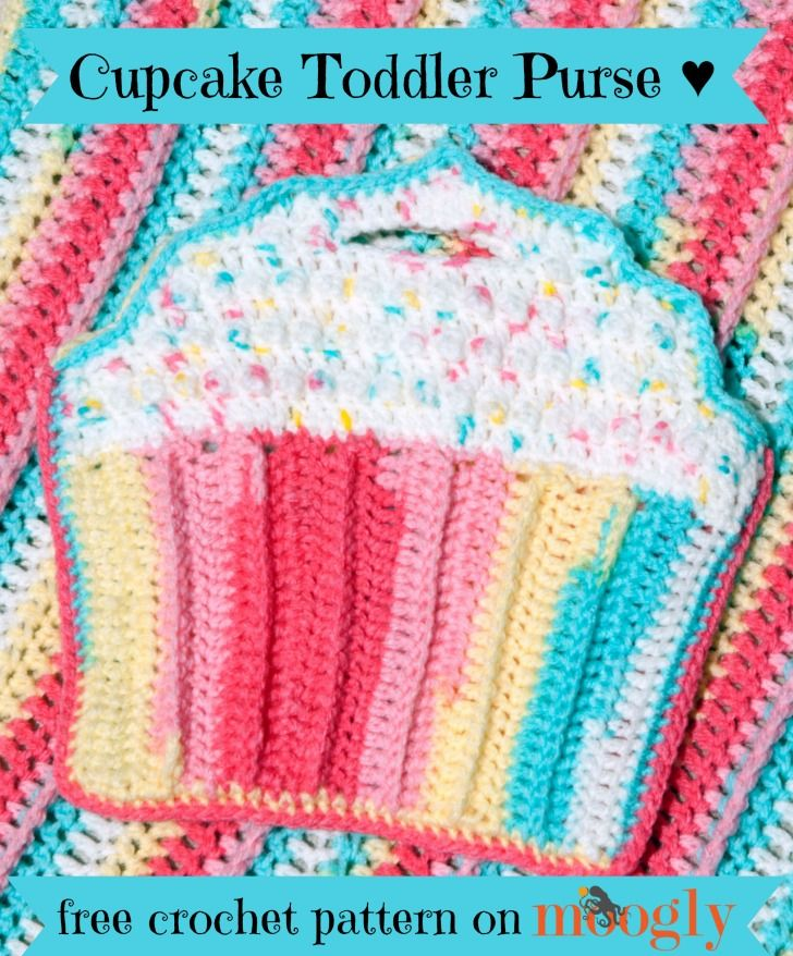 Cupcake Toddler Purse - free crochet pattern on Mooglyblog.com (and ...