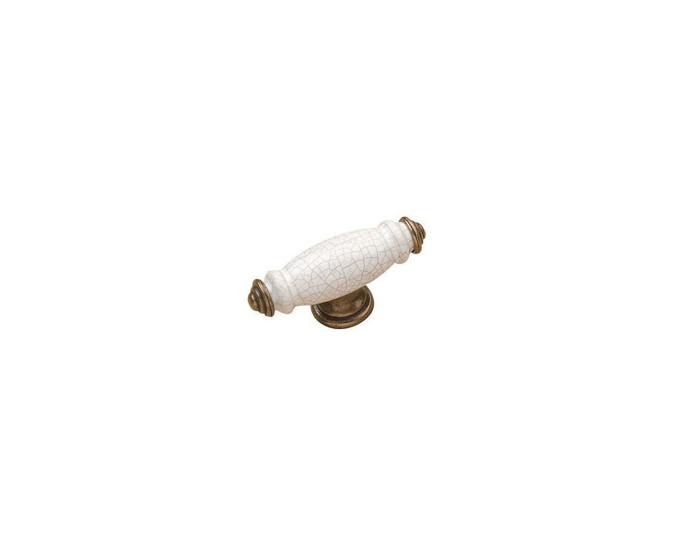 Richelieu BP232002 3 Inch Long Bar Cabinet Knob From the Expression Collection Burnished Brass / Crackle White Cabinet Hardware Knobs Bar