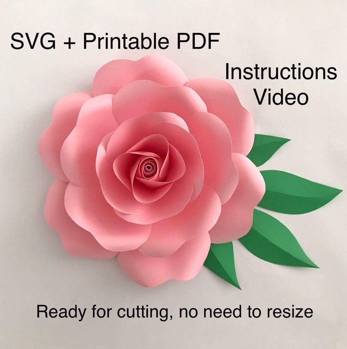 Paper Rose Template Svg Printable Pdf Paper Flower Template Svg