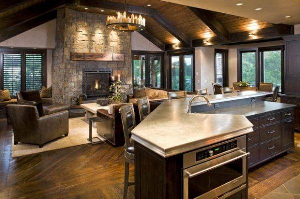 wohnzimmer-rustikal-coole-beleuchtung Wandgestaltung - Tapeten - wandgestaltung wohnzimmer rustikal