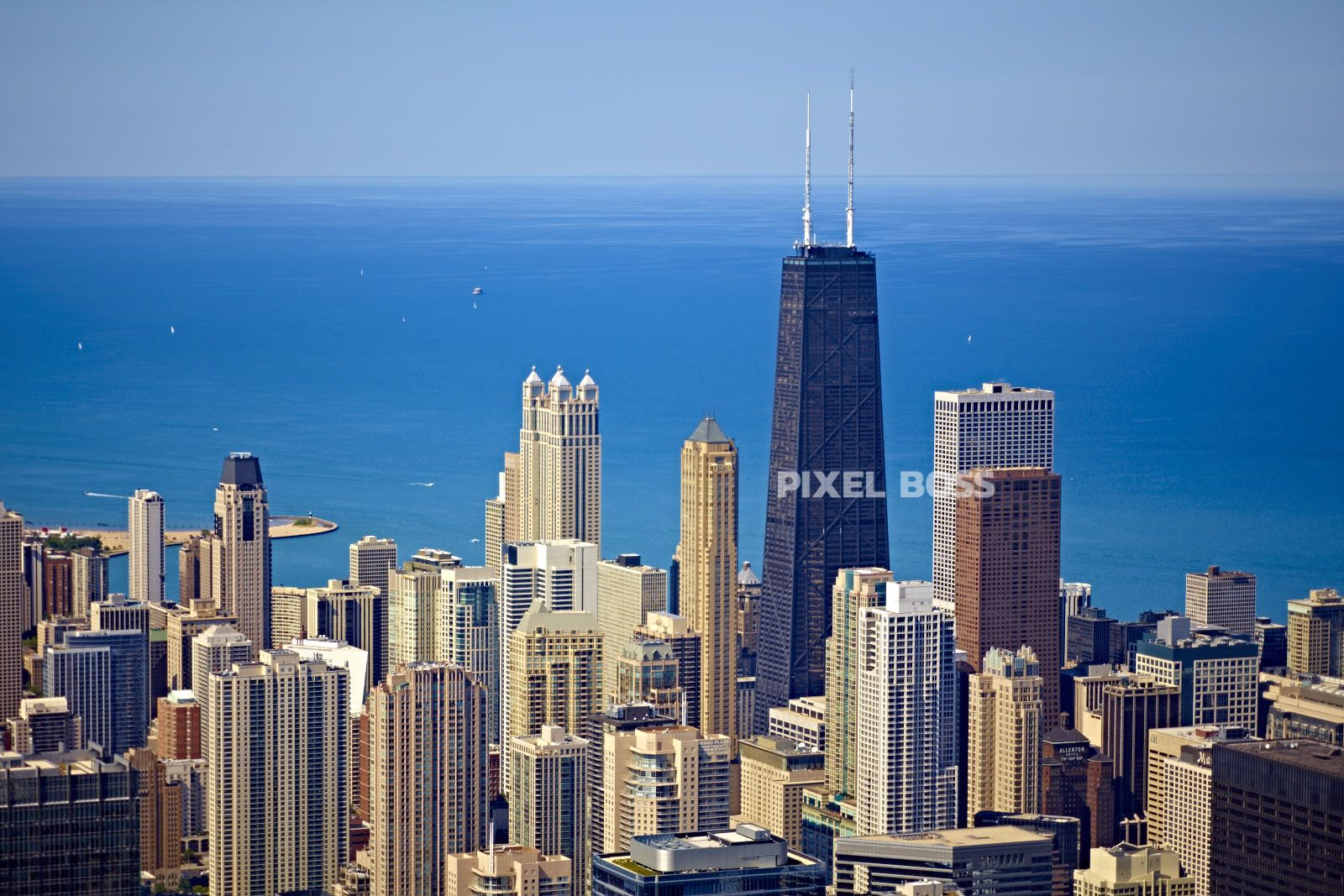 Chicago Skyline Aerial with Lake Michigan | Cityscapes