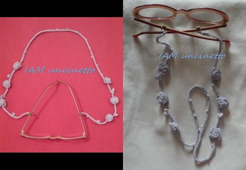 Cordino catenella per occhiali in cotone e perline all uncinetto