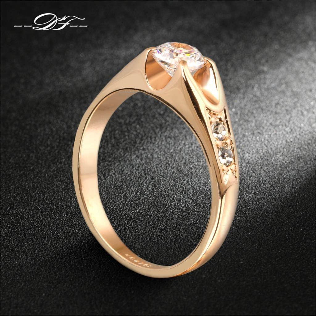 큐빅 지르코니아 웨딩 RingRose 골드/실버 톤 CZ 돌 약혼 반지 보석 도매 DFR249