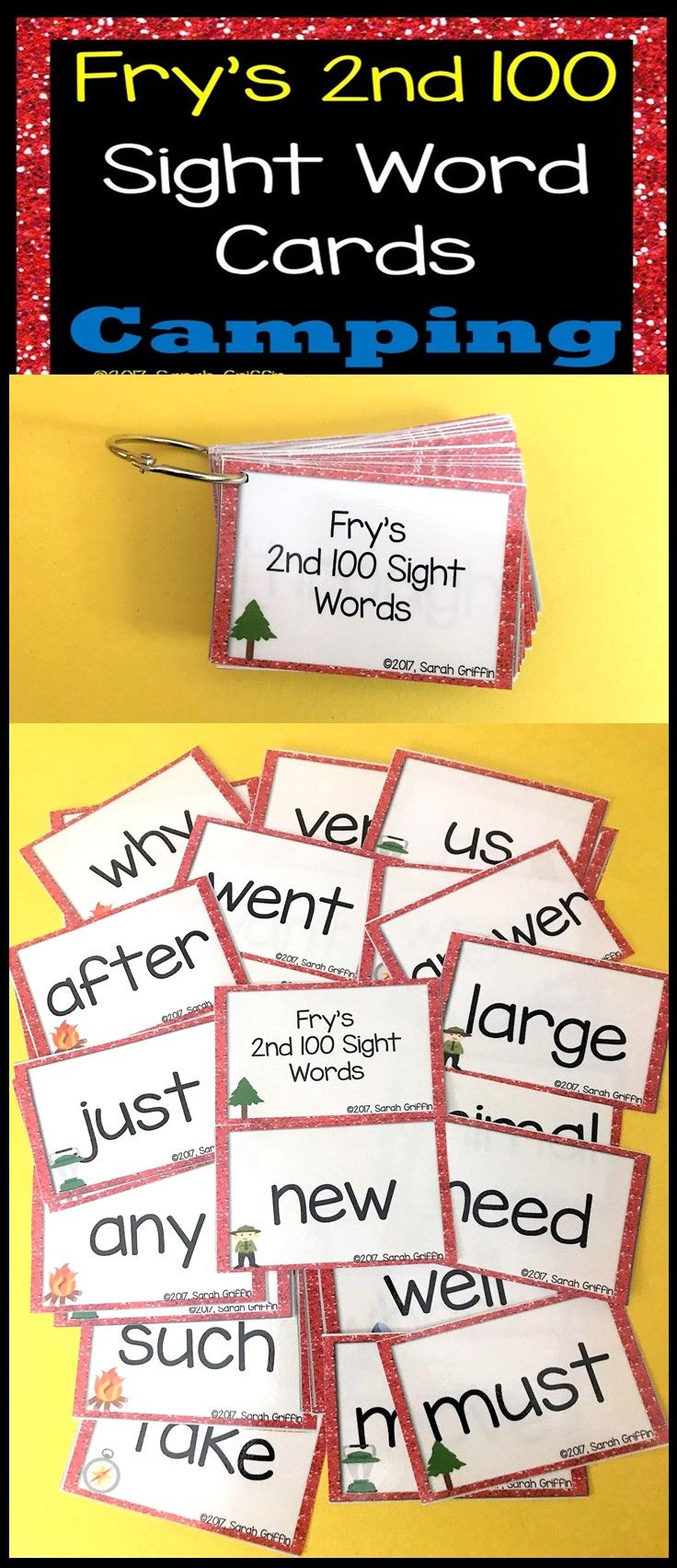 Fry 2nd 100 Sight Words #101-200 - Word Wall Cards - Camping Theme ...