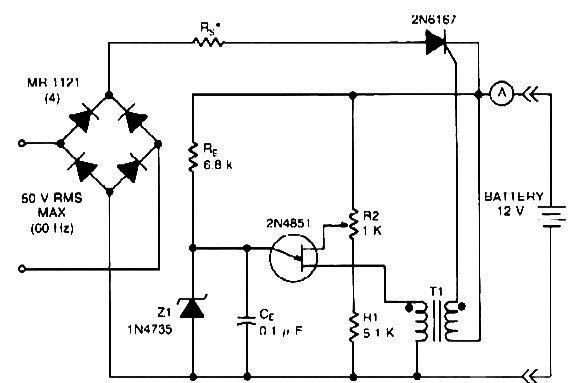 this 12v battery charger circuit can charge 12 volt batteries with maximum current 20 a rms