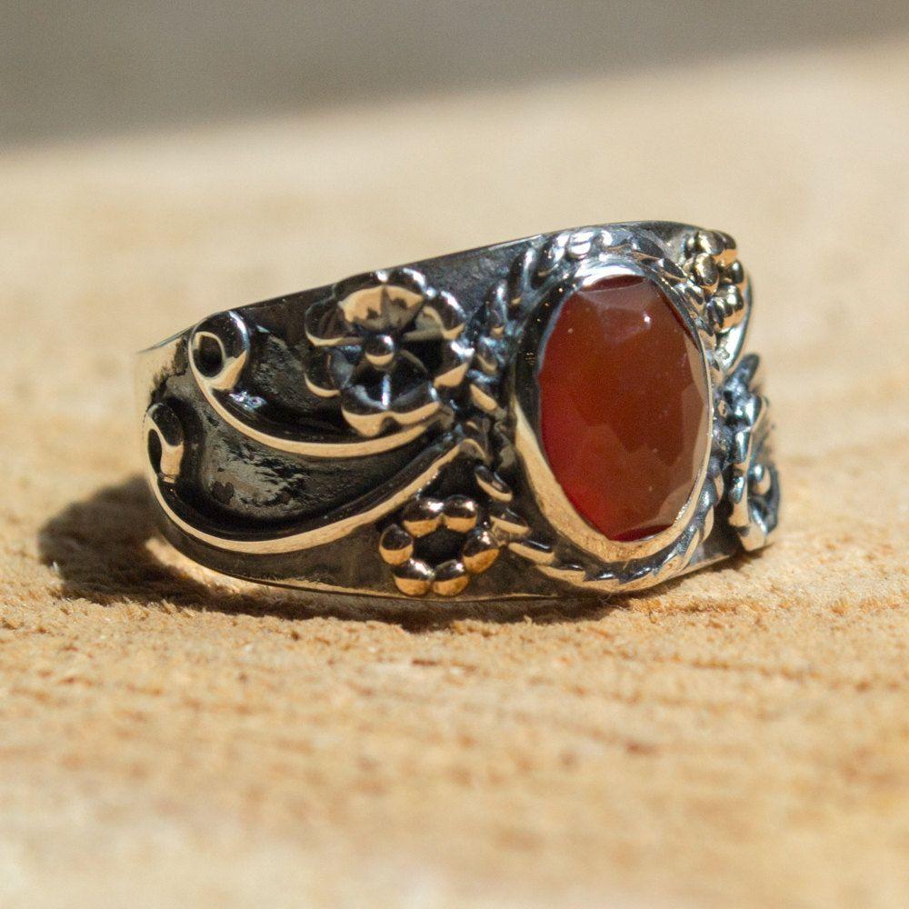 Sterling Silver Ring, carnelian ring, gemstone ring, gypsy ring ...