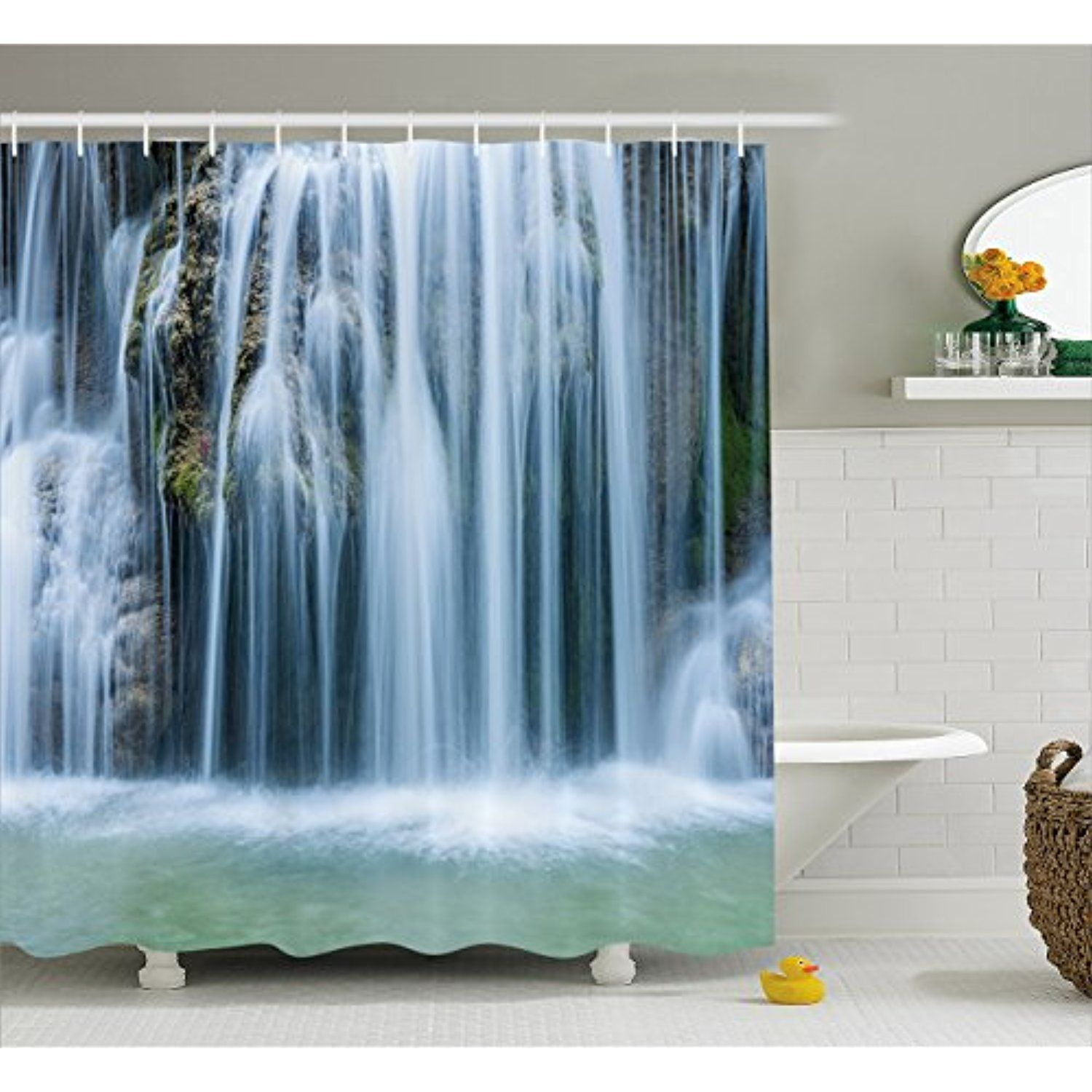 Waterfall Shower Curtain by Lunarable, Massive Magnificent Cascaded ...